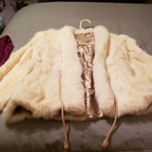 Vintage cream white rabbit Fur Coat.